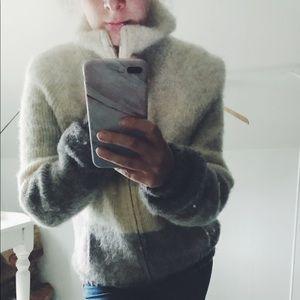 Vintage 100% Icelandic Wool Ombré Bomber Jacket